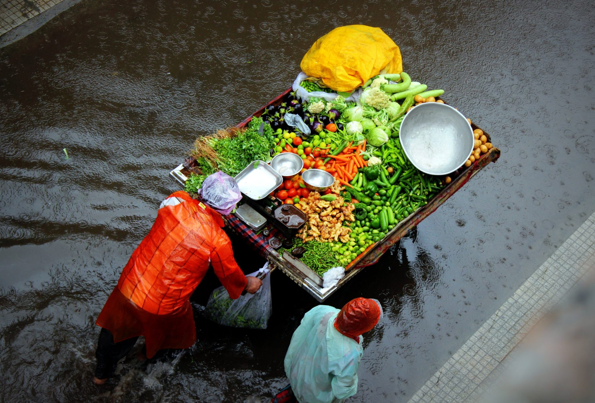 Man pushing cart with colorful vegetables in India
