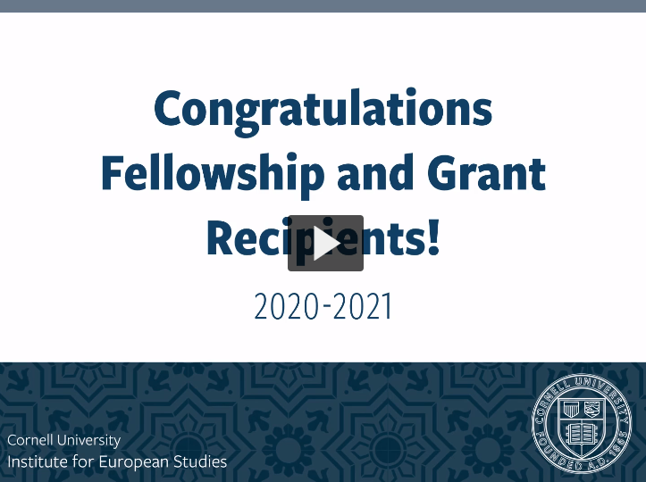 "Presentation slide reads ""Congratulations Fellowship and Grant Recipients! 2020-2021"""