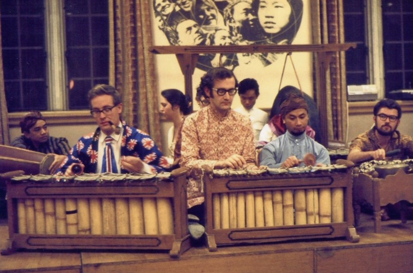 Ben Anderson and other gradstudents palying gamelan in 102