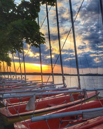 Sailboats by the lake in Madison, WI
