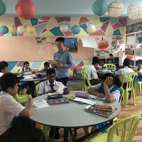 Fulbright student teaches in a Malaysian classroom