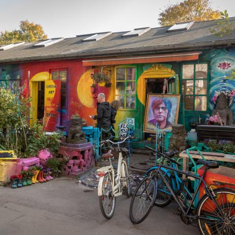 Art shop in Freetown Christiania, Copenhagen, Denmark