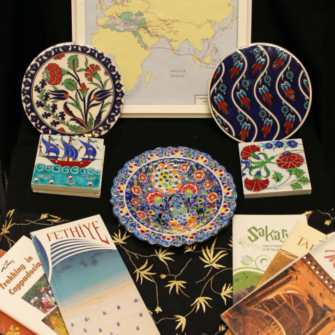 Turkish plates, brochures, and map