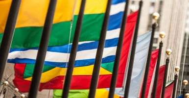 Colorful flags from a variety of countries